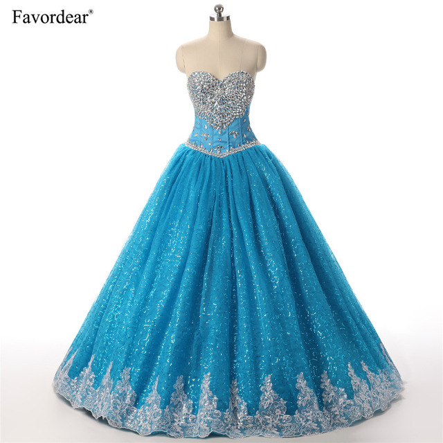 6a960fc18a Favordear 2018 Huge Beaded Ball Gown Quinceanera Dresses Tulle With Silver  Crystals Lace Sweetheart Turquoise Quinceanera Dress