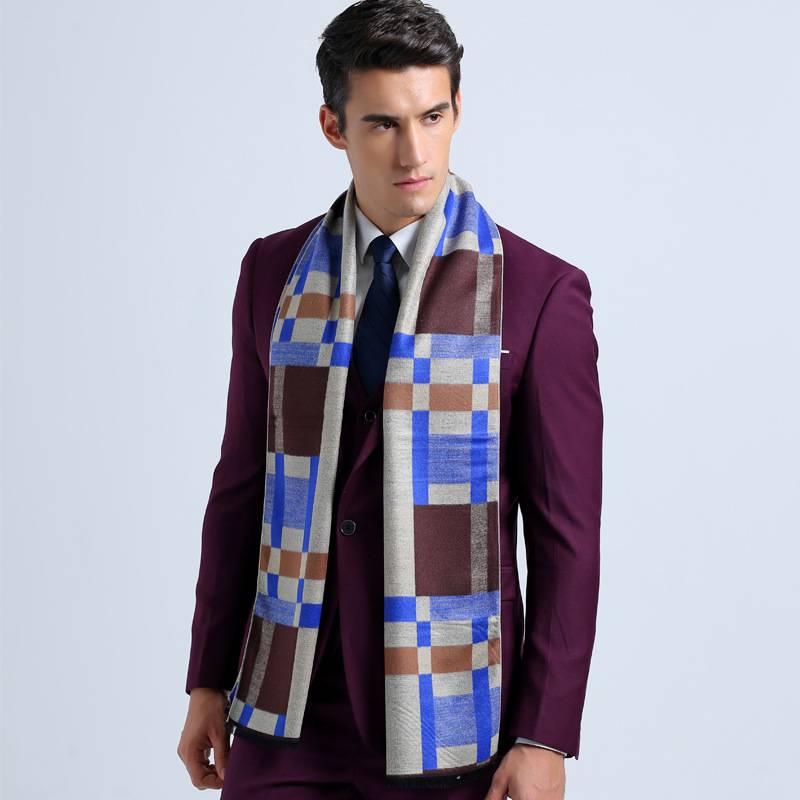 Fashion font b Tartan b font Scarf Men Business Scarves Winter Autumn Cotton Scarf Luxury Brand