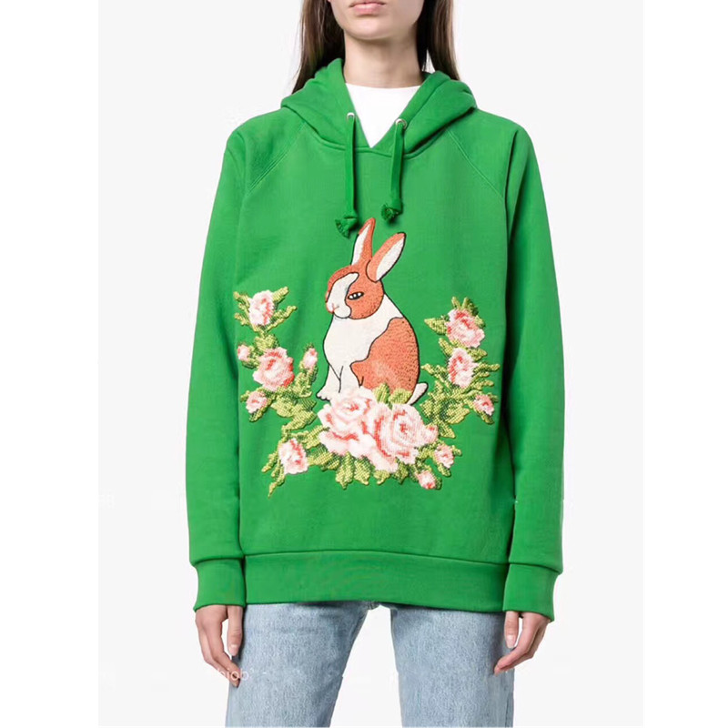 Top Quality Green Hoodies 2018 New Runway Design Rabbit Flower Embroidery Womens Sweatshirt Hooded Oversized Pullover