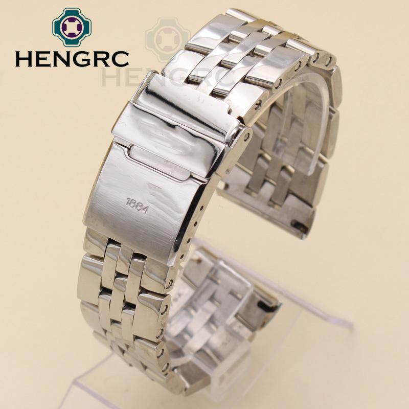 Prix pour Montre en métal Bracelets 22mm 24mm Bracelet En Acier Inoxydable Hommes Argent Poli Montre Bracelet Accessoires Bracelete