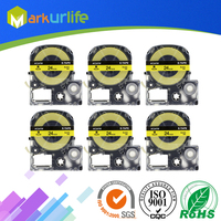 6 Pack SC24Y Yellow Label Black Text 24mm Printer Tape Compatible EPSON Label Printer Ribbon, For King Jim TEPRA Tape