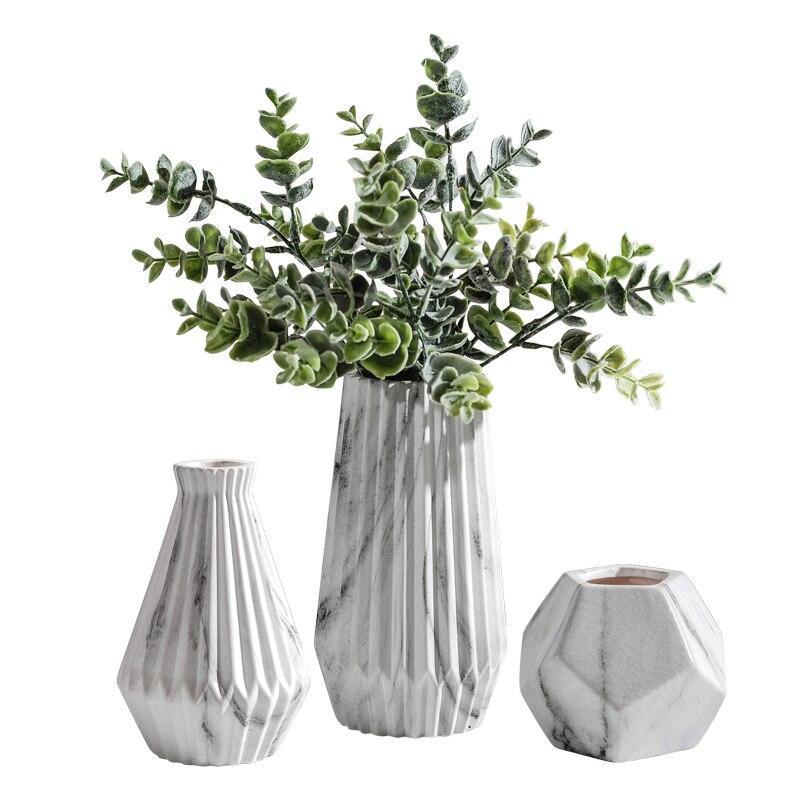 Nordic ins marble pattern design ceramic vase home decor crafts art floral figurines small fresh flower arrangement handicrafts