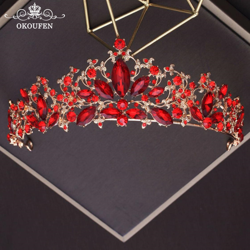 New Red Crystal Rhinestone Tiaras Quinceanera Wedding Crowns 2018 Gold Women Hair Jewelry Prom Headbands Bridal Accessories