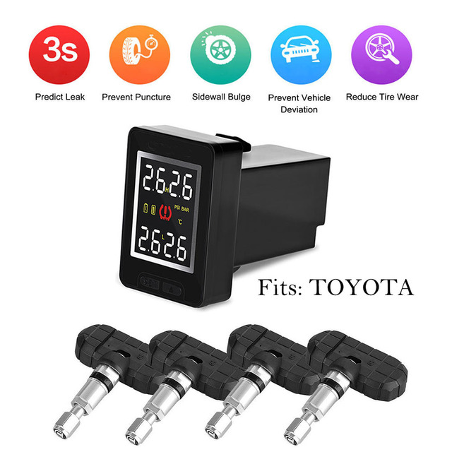 Sem fio PSI/BAR TPMS Tire Sistema Monitor de Pressão Dos Pneus + 4 Sensores LCD Para TOYOTA
