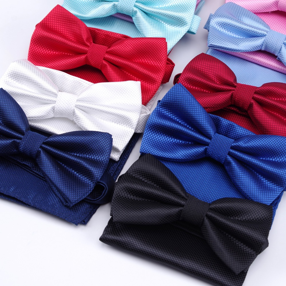Handkerchief Bow Tie Hanky Sets Fashion Neckties Ties For Mens Gravata Wedding Dress Party Business T-shirt Men