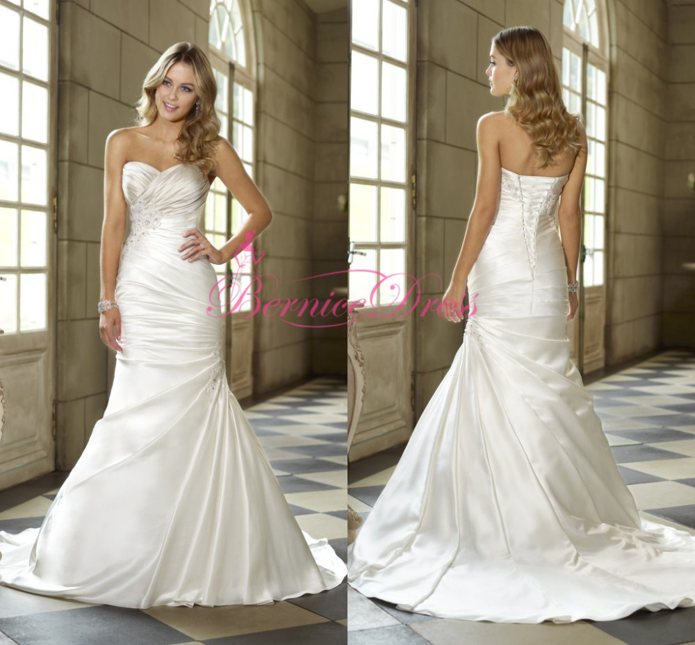 Vintage dresses 2014 mermaid court train soft silk white for Aliexpress mermaid wedding dresses