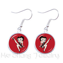Betty Boop Flirty Pose Earrings-Great Stocking Stuffer Betty Boop St. Patrick's Day Leverback Earrings(China)