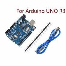 Для Arduino UNO R3 CH340G MEGA328P чип 16 МГц ATMEGA328P-AU макетная плата интегральные схемы комплект чехол+ USB кабель