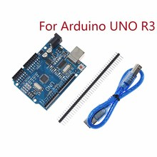Für Arduino UNO R3 CH340G MEGA328P Chip 16Mhz ATMEGA328P AU Entwicklung Bord Integrierte Schaltungen Kit Original Fall + USB Kabel