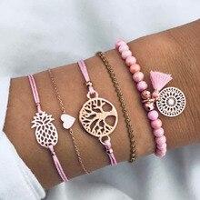 5 Pcs/Set Boho Women Tassels Dreamcatcher Pineapple Heart Coconut Tree Chain Bead Leather Bracelet Set Charm Fashion Accessories