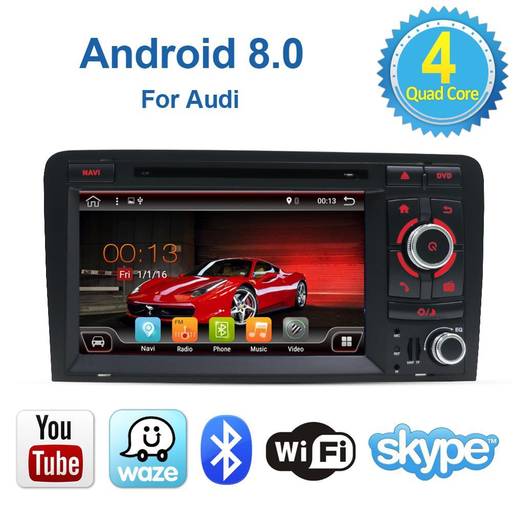 Lecteur multimédia de voiture Bosion Android 8.0 GPS 2 Din lecteur DVD de voiture pour Audi A3 2006-2011 Canbus 2 GB RAM 16 GB ROM Radio wifi FM
