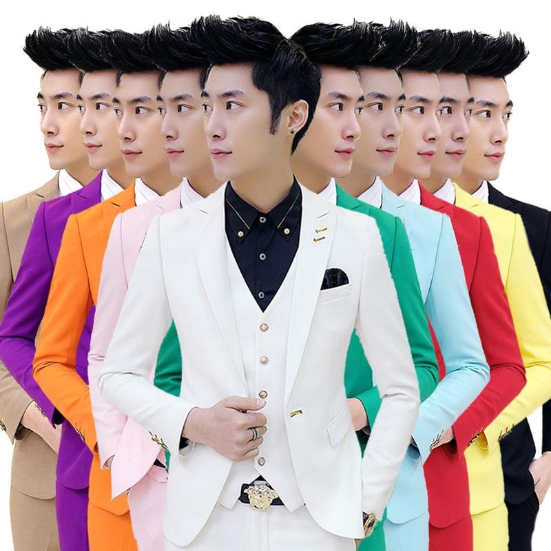 ( Suits + Vests + Pants ) 2018 New Pure Color Male Groom Wedding Dress Suits / Male Fine Quality Cotton Boutique Business Suits