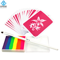 OPHIR Body Paint 6 Colors Rainbow Pigment Temporary Tattoo Kit for Body Art Design Set with 20x Template and Brush _OP-RP001E