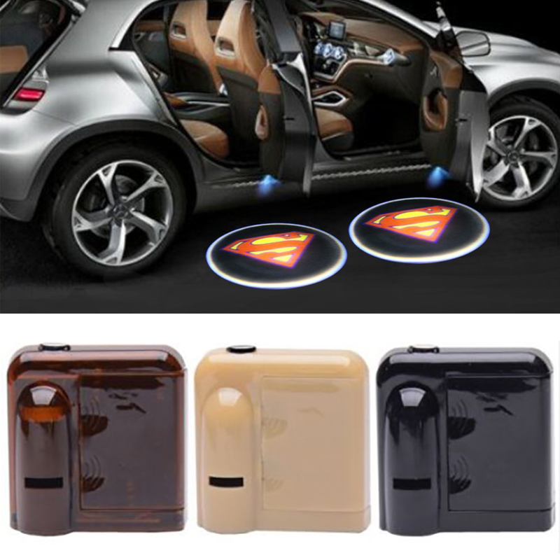 2PCS Wireless Car Door Welcome Light Logo No Drill Type Badge Lights LED Laser Ghost Shadow Projector Lamp Superman logo light for skoda octavia led 3w welcome car door logo lights projector laser ghost 3d shadow accessories original door light replace