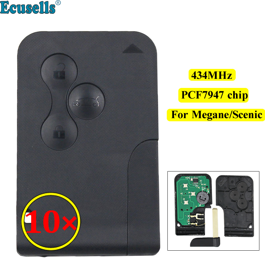 10pcs lot Smart card 3 Button Remote key 434Mhz PCF7947 Chip for Renault Megane Scenic with