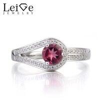 Leige Biżuteria Naturalne Turmalin Pierścień Obietnica Pierścień Października Birthstone Okrągły Cut Różowy Kamień 925 Srebrny Pierścień dla Kobiet