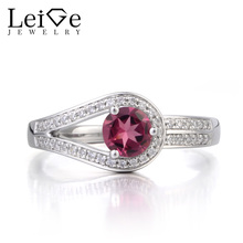 Leige Jewelry Natural Tourmaline Ring Promise Ring October Birthstone Round Cut Pink Gemstone 925 Sterling Silver Ring for Women
