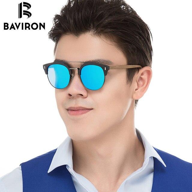 2c58042c13a02 BAVIRON 2018 Marca Designer óculos de Sol Homem Retro Clássico Óculos de  Sol de Madeira Semelhante