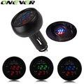 1 PC 3 em 1 Digital LED Voltímetro carro Termômetro Auto USB Carregador de Carro 12 V/24 V Temperatura medidor Voltímetro Isqueiro