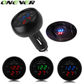 1PC 3 in 1 Digital LED car Voltmeter Thermometer Auto Car USB Charger 12V/24V Temperature Meter Voltmeter Cigarette Lighter
