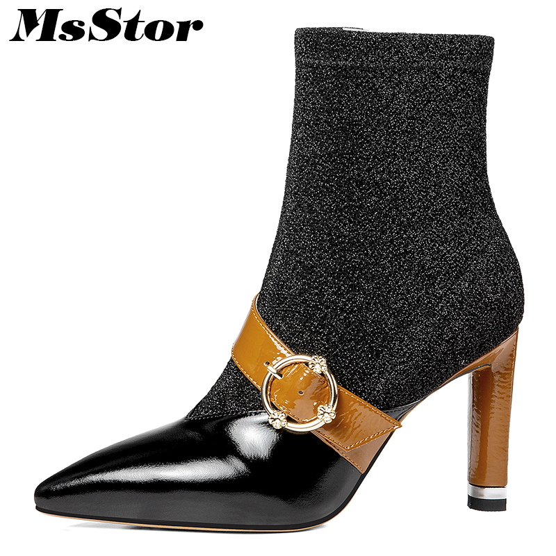 MsStor Pointed Toe High Heel Women Boots Fashion Metal Zipper Buckle Ankle Boots Women Shoes Square heel Boot Shoes For Girl double buckle flat heel zipper boots