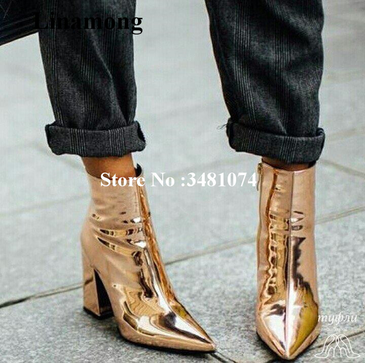 Gold Glittering Women Spring Autumn Ankle Boots Pointed Light Gold PU Pointed Toe And Square Heels Sequined Gold Ankle Boots