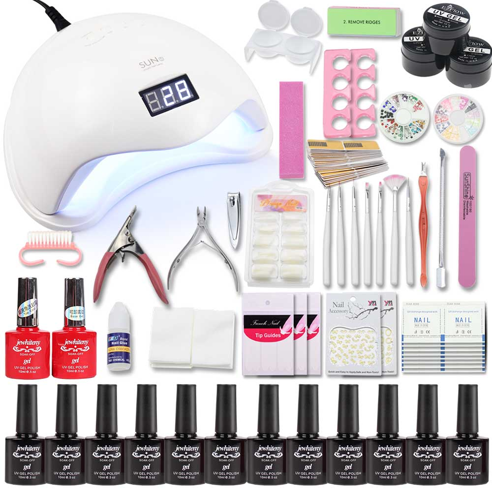 Timistory 36/48W UV LED Lamp Nail Set & 12/36 color acrylic nail kits uv extension gel set kit nail art manicure tools sets kit цена