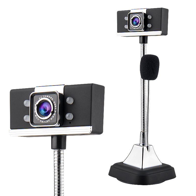 USB 2.0 Wired Webcams1080P PC Laptop Video Camera Adjustable Angle HD LED Night Vision With Microphone black