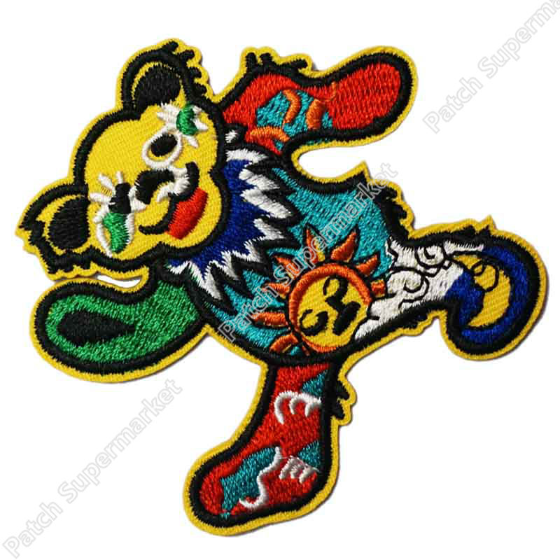 3 GRATEFUL DEAD Music Dance Bear Patch Music Band EMBROIDERED IRON On APPLIQUE Heavy Metal Rock