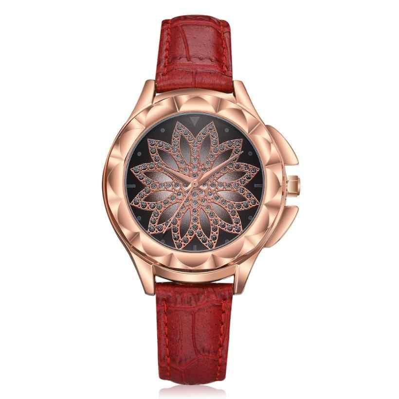 Haute qualité mode bracelet en cuir Rose or femmes montre décontracté amour diamant fleur montre-bracelet femmes robe dames montres de luxe