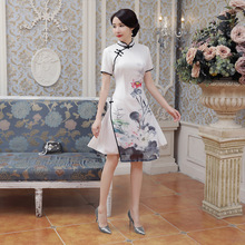 High Quality White Satin Elegant Handmade Button Classic Lady' s Vietnam Ao Dai Dress Short Sleeve Print Short Dress S-3XL AD3-A