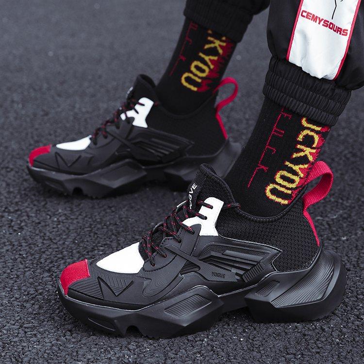 Preto Dos Homens Hop Superiores Altos Quente vermelho Respirável Ins branco Grosso Aumentar Novas Shose Quadril Desportivos sola Super Coreano Sapatos Sapatilhas 8zxZUq