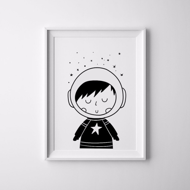 Wall canvas black and white scandinavian nursery decor canvas prints poster space and universe