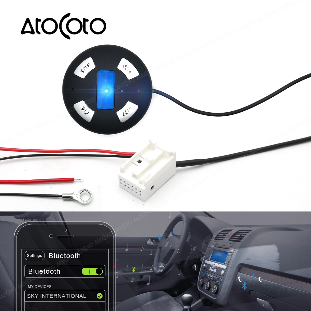 bluetooth car kit 12 pin plug module aux receiver adapter. Black Bedroom Furniture Sets. Home Design Ideas