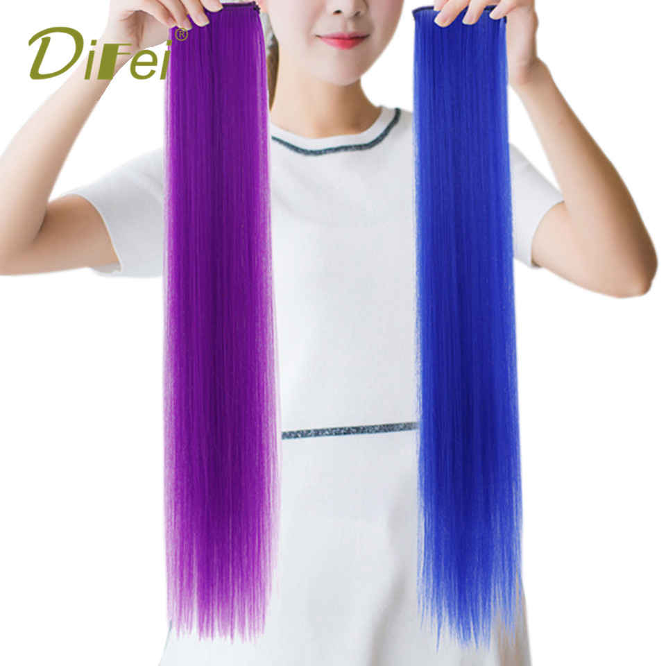 DIFEI Long Straight Hair Extension Synthetic High Temperature Fiber Natural Hairless 2 Clip Hair Extension