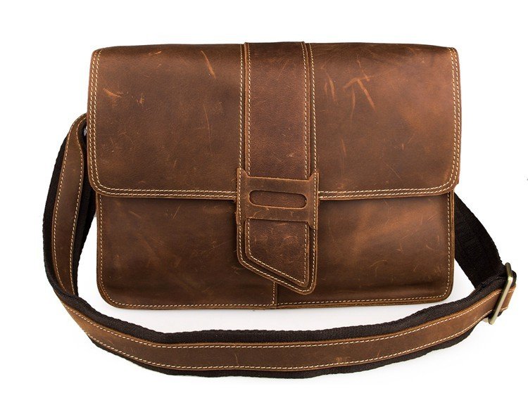 Nesitu Brown Color Vintage Crazy Horse Leather Cross Body Men Messenger Bags #M7263