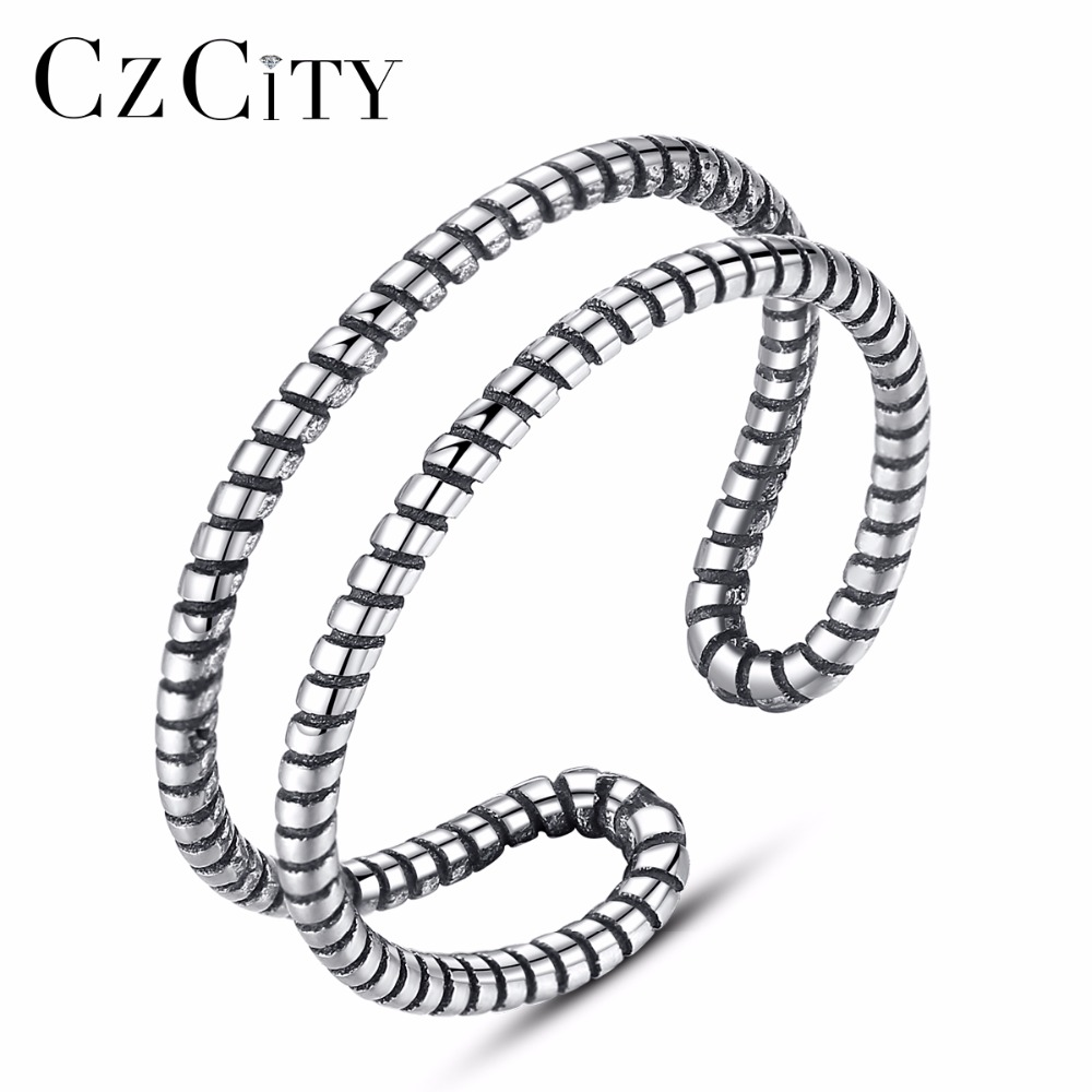 CZCITY 100% 925 Sterling Silver With Long Tail Finger Ring Women Ring Adjustable Engagement Ring Jewelry Gift