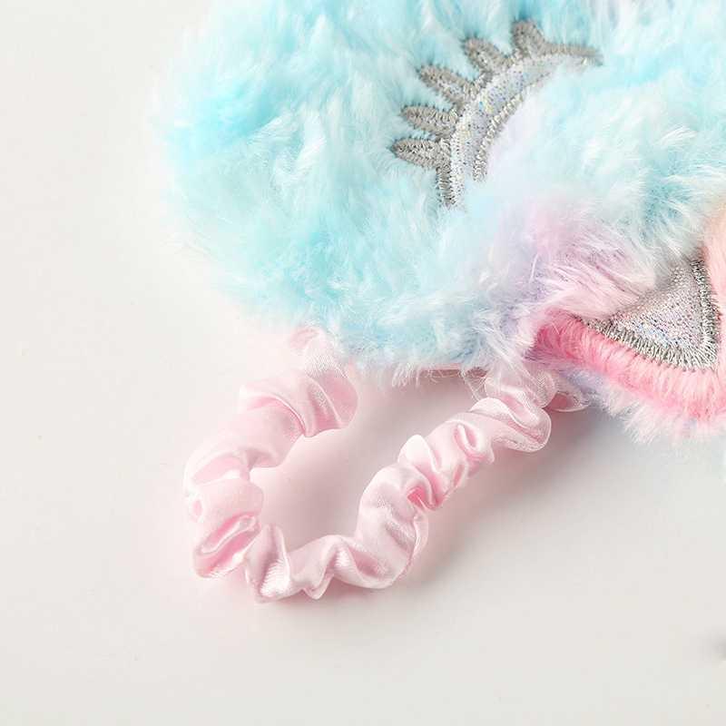Nowy Kawaii jednorożec maska na oczy pluszowe zabawki zwierzęta śliczne kolorowe jednorożec pluszowa maska na oczy zabawki pomoc jakość snu zabawki dla dzieci prezenty