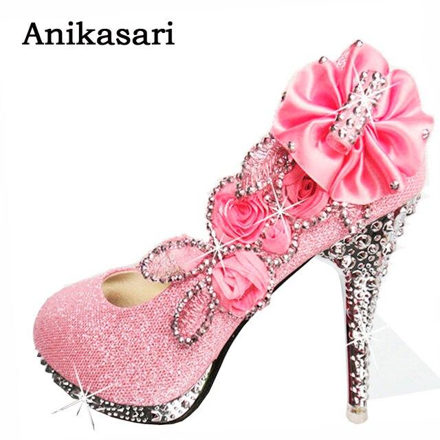 Das mulheres Sapatos de Casamento Mulher Cristal Branco Sapatos de Festa  Plataforma Vermelha de Salto Alto 50fa22f80d62