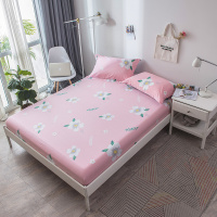 100% Cotton Bed Sheets Home Textile Bedding Coverlet pink Flower Fitted Sheet Mattress Stripe Soft elastic Bed Sheet pillowcase