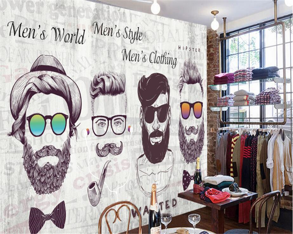 beibehang 2018 New High Quality Vintage Wallpaper Trendy Bearded Background Wall Front Personality papel de parede 3d wallpaper-in Wallpapers from Home ...