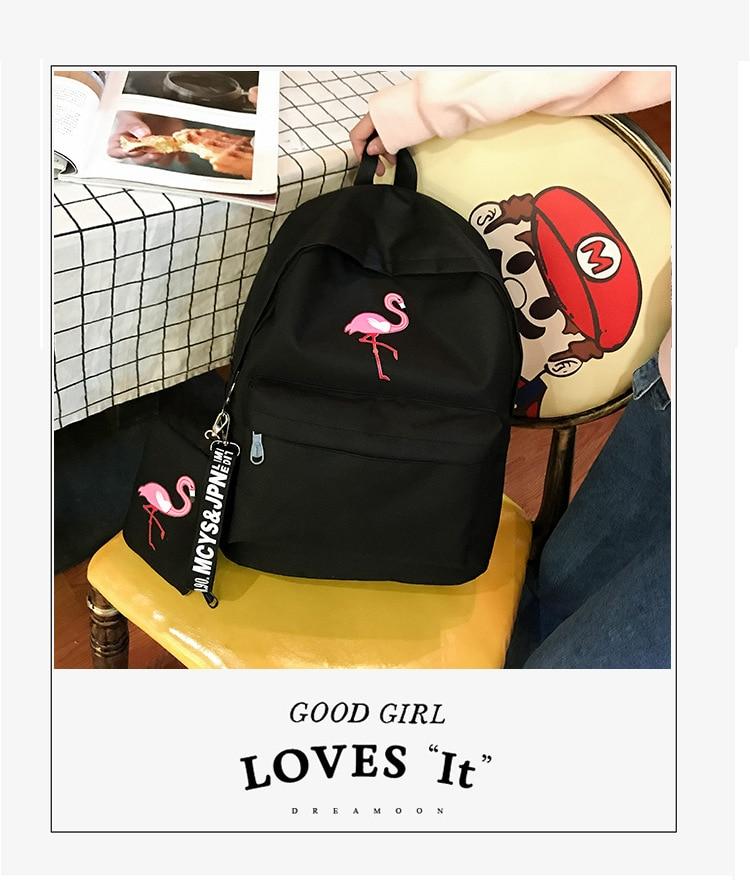 Mochilas marca feminina simples flamingo impressão mochila