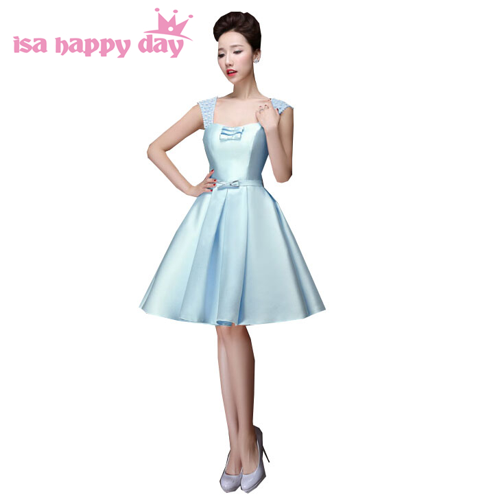 Light Blue Girl's Sleeveless Knee Length Satin Dress Ball Gown For Sweet 16 Party Occasion Dresses Cheap Under $100 H2902
