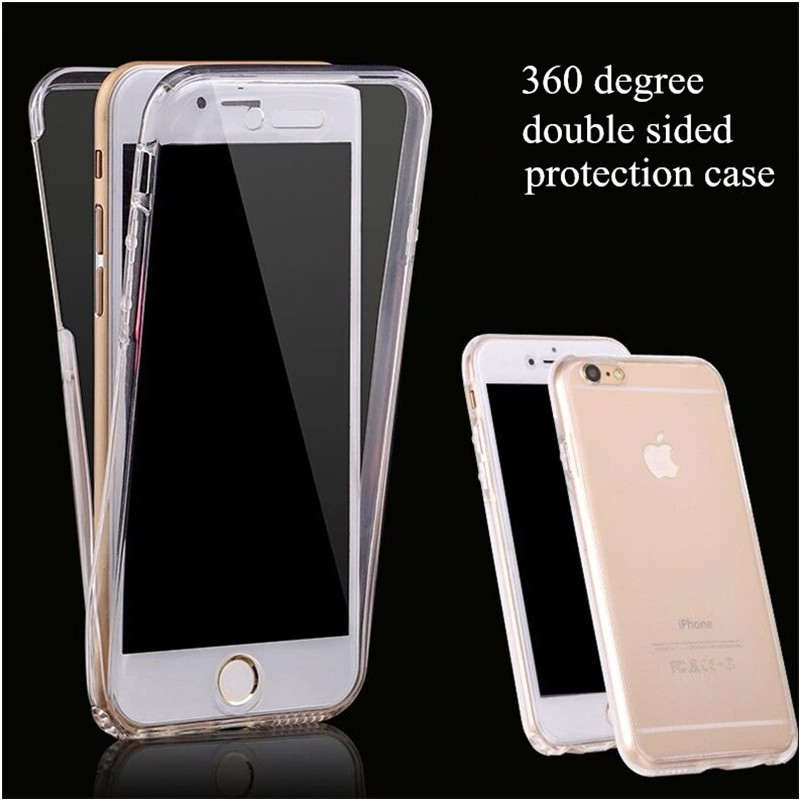 360 degree double sided TPU phone case for iphone x xs max xr ultrathin transparent soft case for iphone 6 6s 5 5s SE 8 7 plus