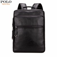 VICUNA POLO Large Capacity Cool Black Leather Men Backpack Promotion Solid Black Mens Laptop Backpack Leather