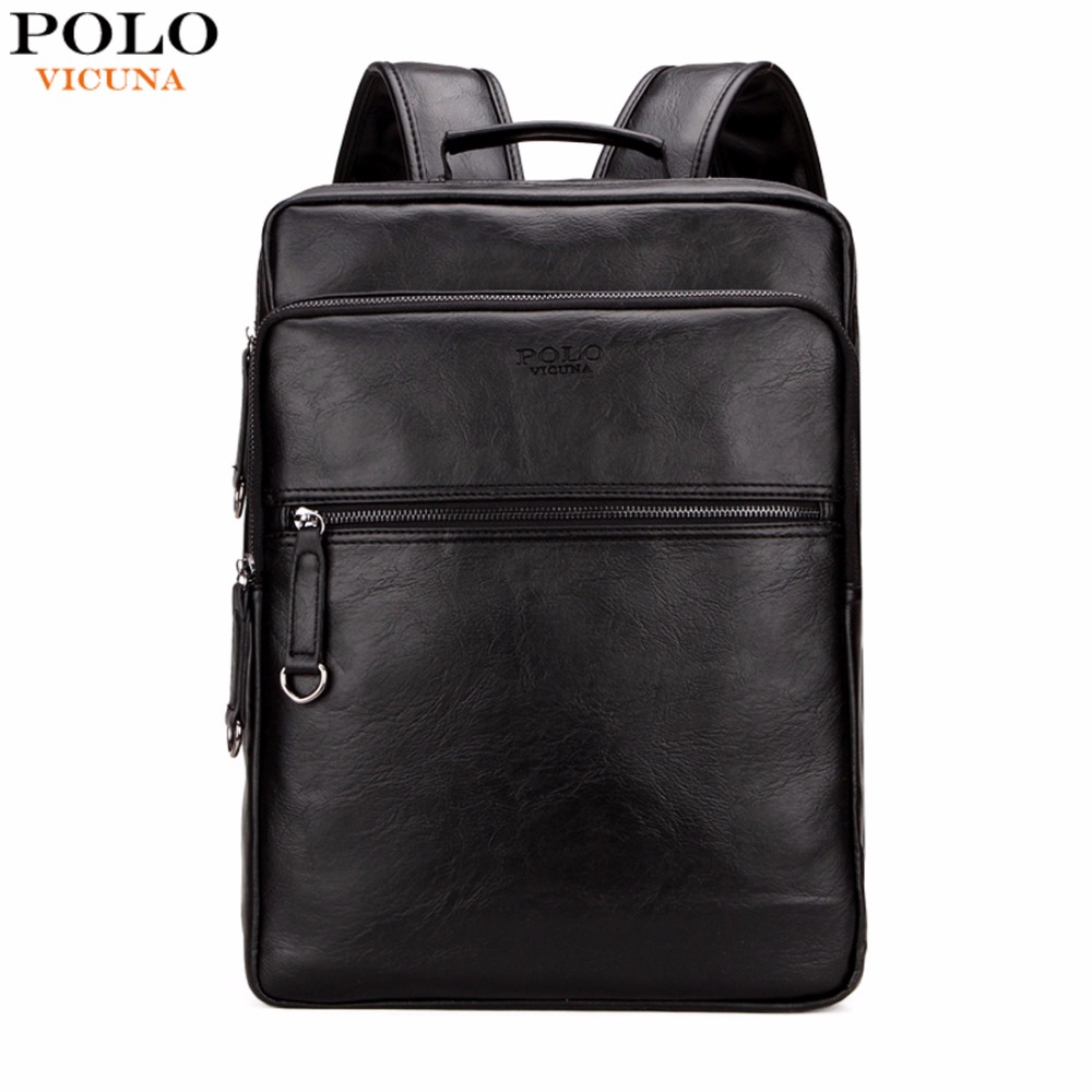 VICUNA POLO Large Capacity Cool Black Leather Men Backpack Promotion Solid Black Mens Laptop Backpack Leather Backpack mochila vicuna polo men leather usb cable travel laptop backpack with headphone hole school backpack has front pocket bagpack mochila