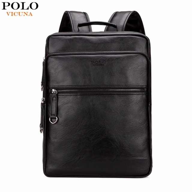 VICUNA POLO Large Capacity Cool Black Leather Men Backpack ...