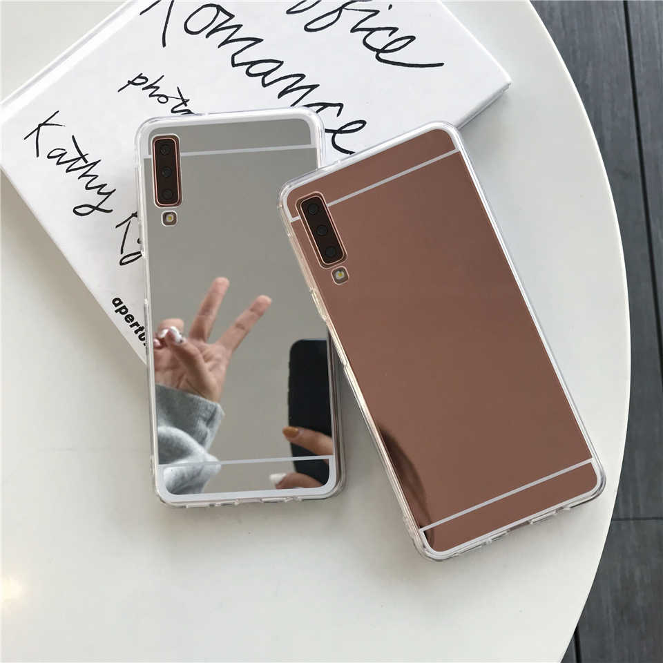 Mirror TPU Case For Samsung Galaxy A7 A6 A8 J4 J6 J8 2018 S10 Plus S10E S8 S9 Note 9 M10 M20 A30 A50 Cover Cute Soft Phone Cases