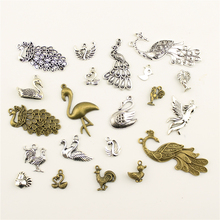 Charms For Jewelry Making Animal Peacock Chicken Duck Goose  Accessories Parts Creative Handmade Birthday Gifts