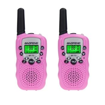 2 Pcs Original Baofeng BF-T3 Walkie Talkie Mini Portable Kids Toy Two Way Radio UHF 462-467MHz 8 Channel Handheld Woki Toki